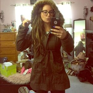 Forever 21 army hooded coat